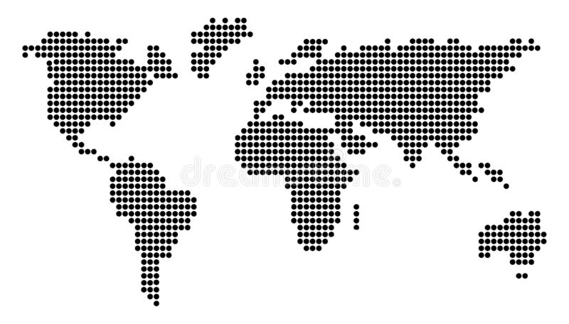 Dotted World Map Vector Illustration Design with Circles. Earth Globe vector illustration