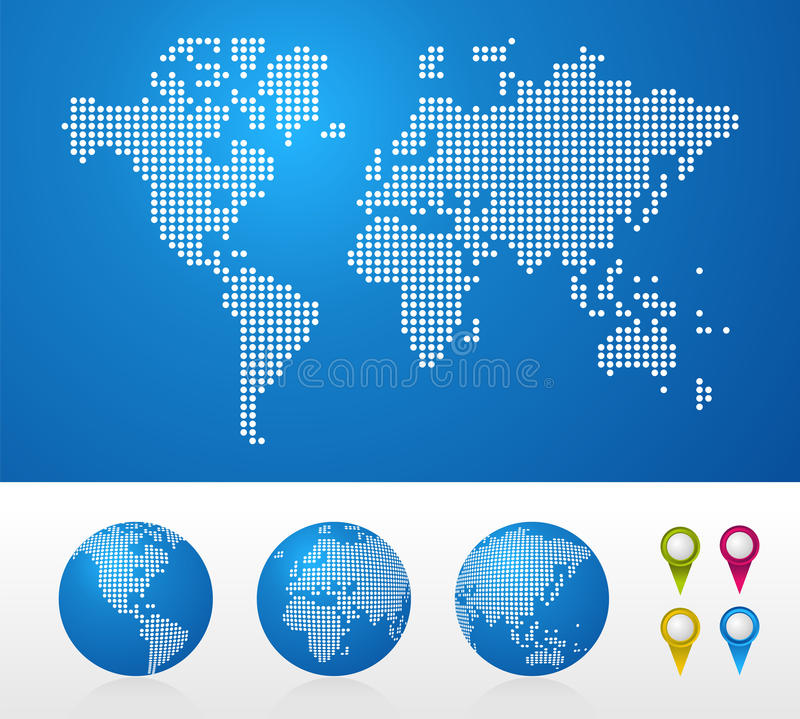 Download Dotted World Maps And Globes Stock Images - Image: 22555524