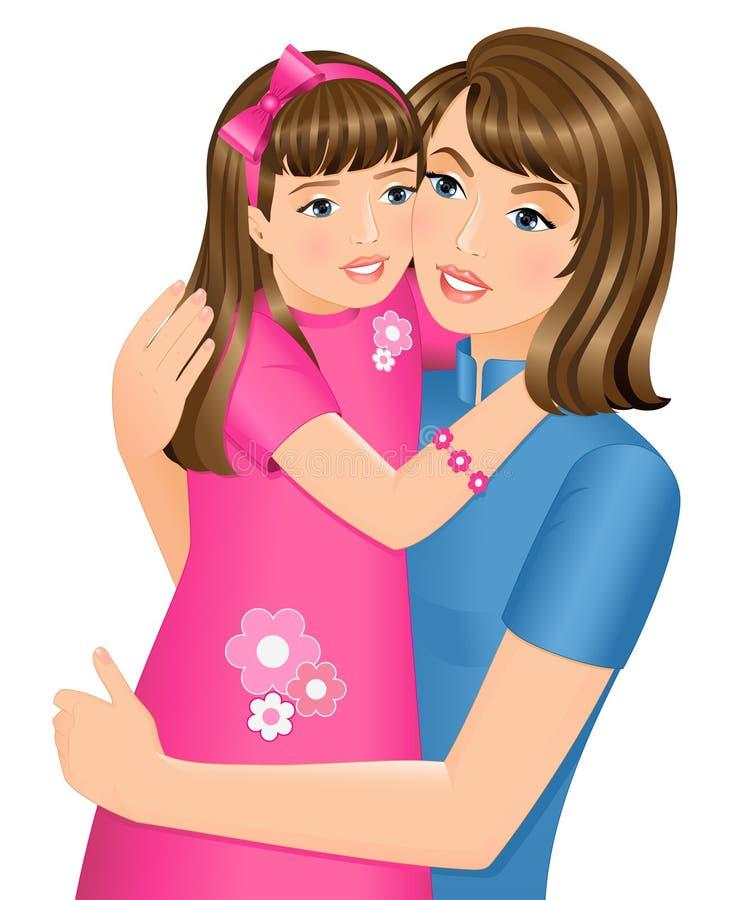 dotter henne som kramar modern royaltyfri illustrationer