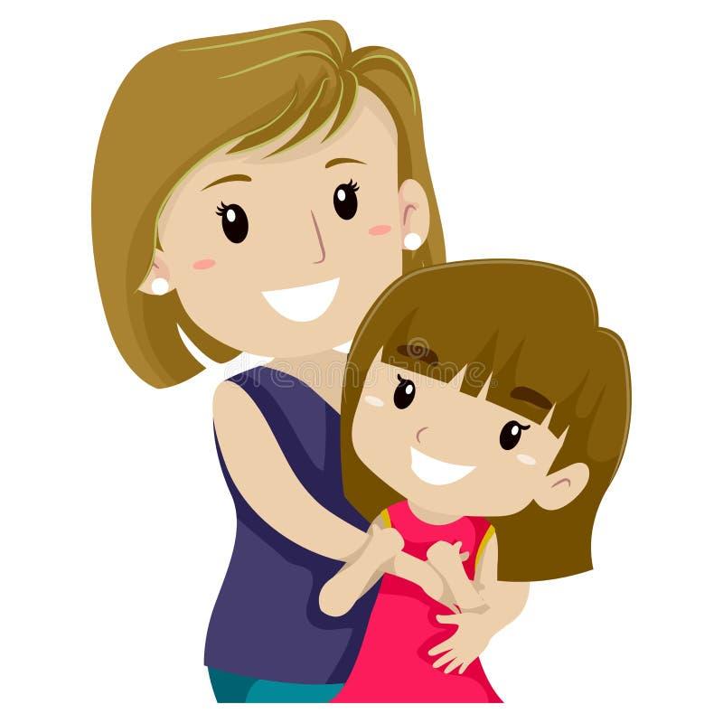 dotter henne som kramar modern stock illustrationer
