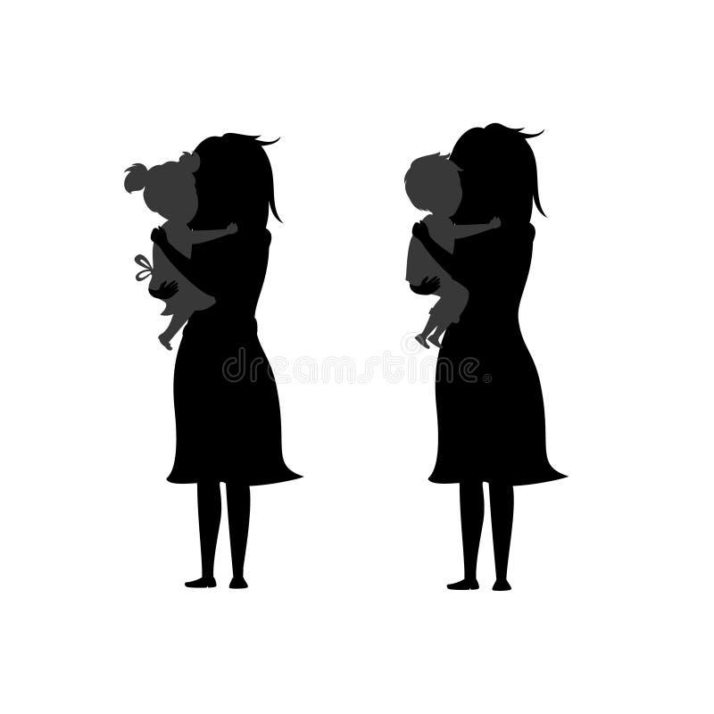 Dotter och son som kramar moderkonturer stock illustrationer