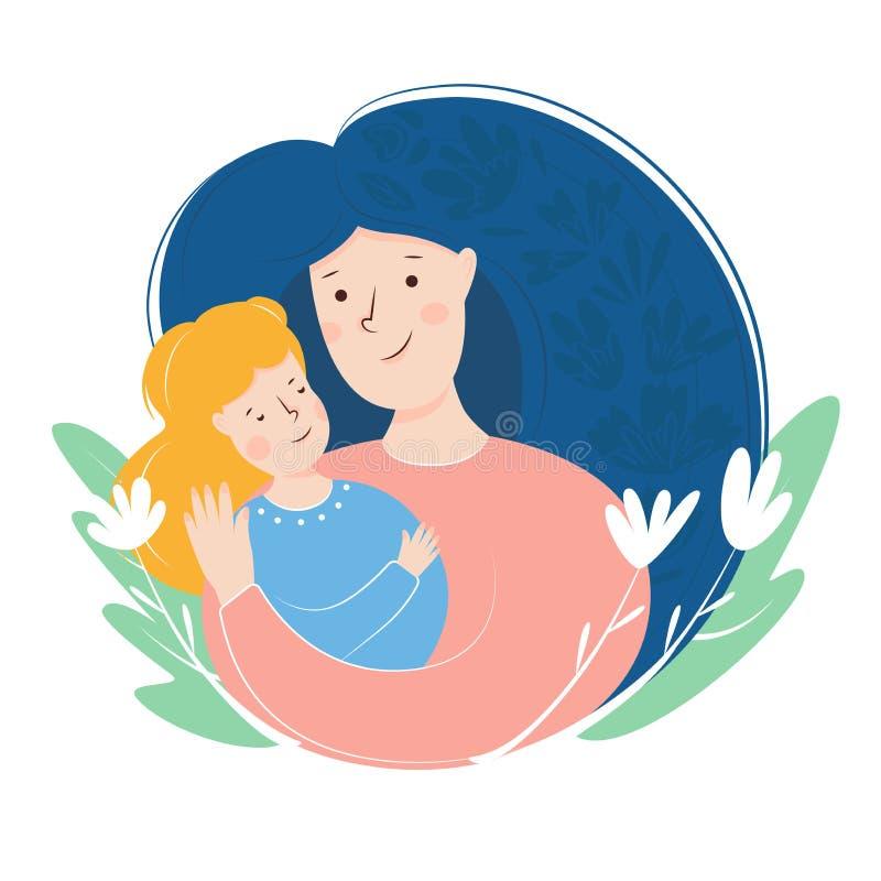 dotter som kramar modern Moders kort f?r dag om moders f?r?lskelse och omsorg Plan illustration vektor illustrationer