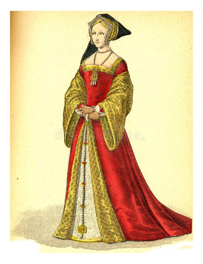 Dotter till Honor av Queen Mary of England, vintage engraving stock illustrationer