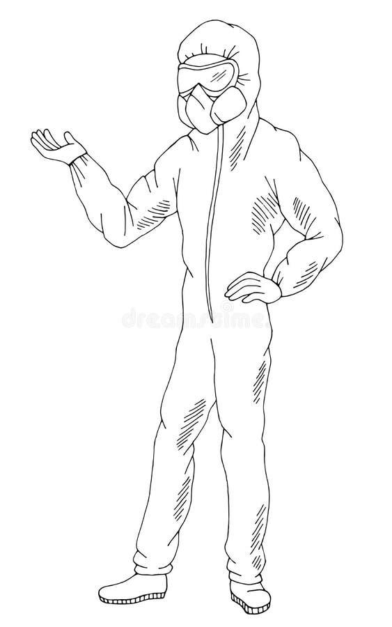 Dottore in tuta di protezione medica, isolato, vettoriale di sketch grafico in bianco e nero fotografie stock libere da diritti