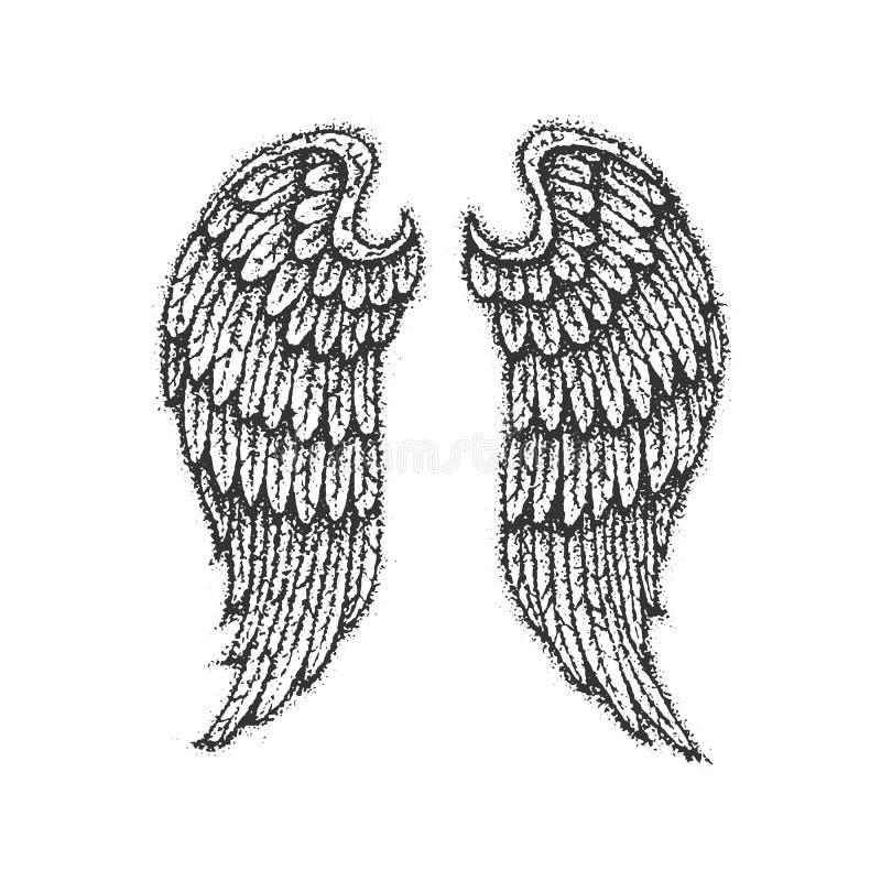 Dotwork Angel Wings ilustração do vetor