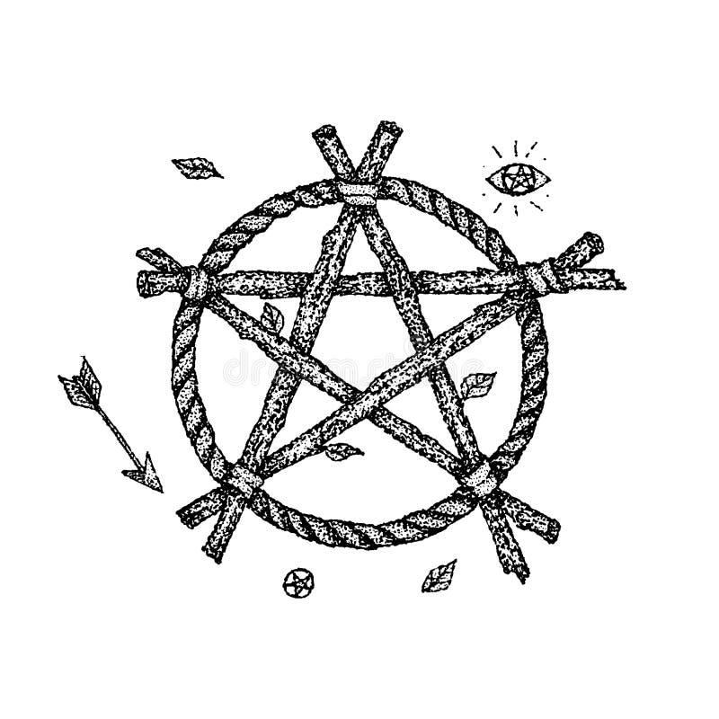 Dotwork czarownicy pentagram ilustracji