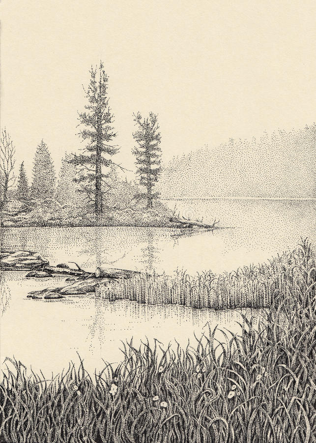 Dotwork drawing. Morning mist over the lake vector illustration