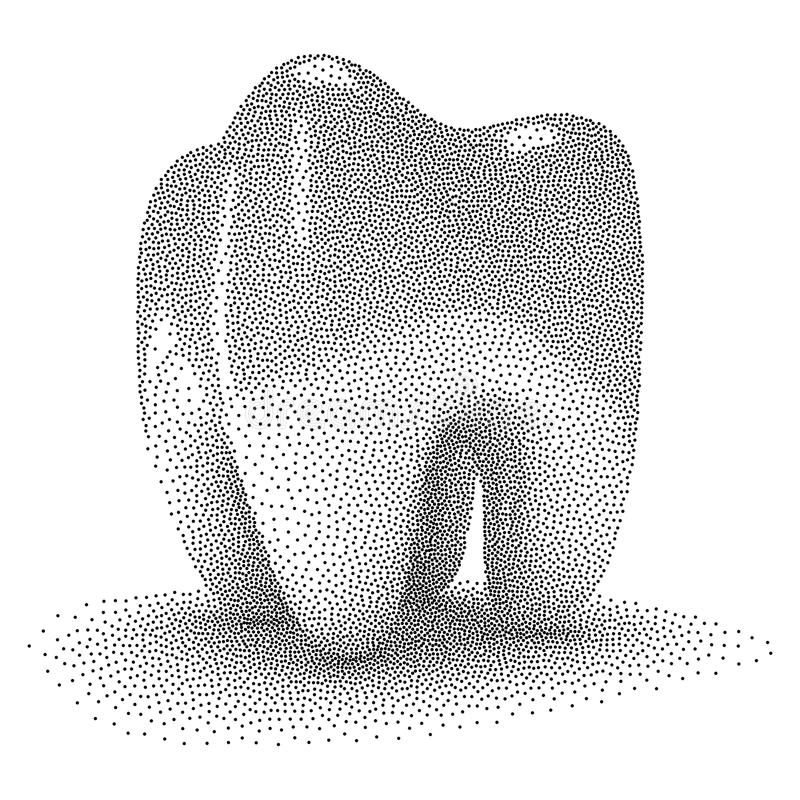 Dotwork Halftone Vector Tooth stock illustration