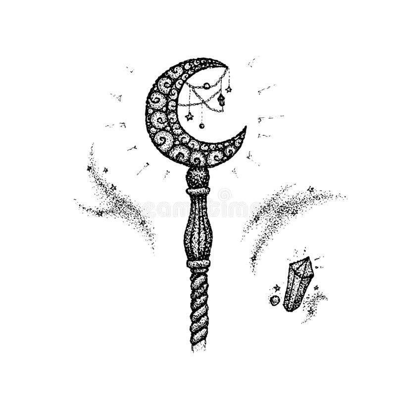 Dotwork Magiczny kij royalty ilustracja