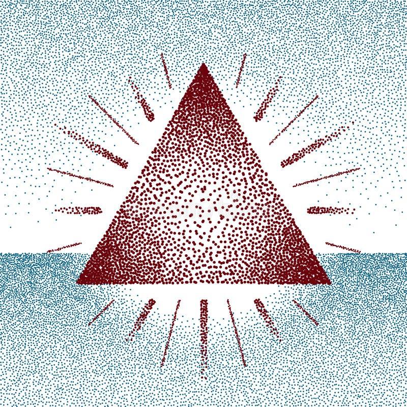 Dotwork rastertriangel med strålar vektor illustrationer