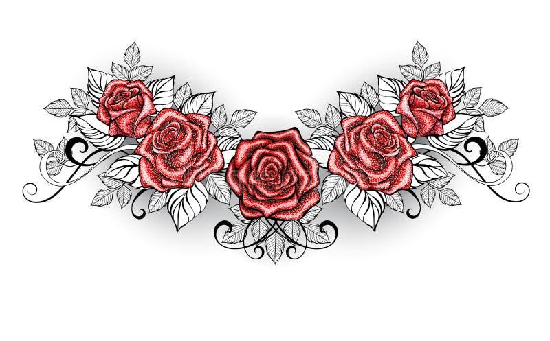 Dotwork Red Roses Tattoo on white background vector illustration