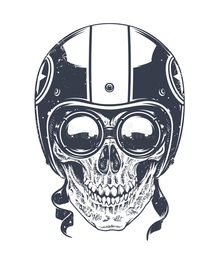 Dotwork Rider Skull ilustração royalty free