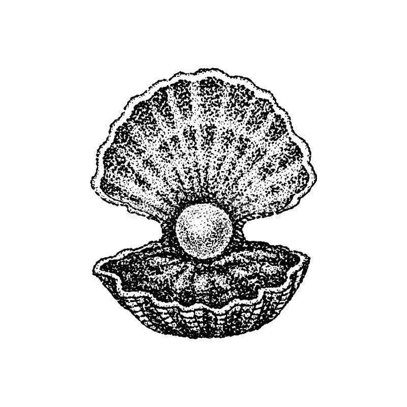 Dotwork Shell z perłą ilustracji