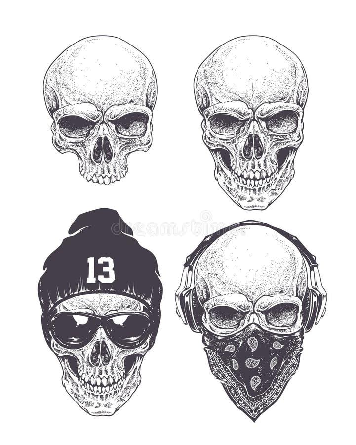 Free Dotwork Skulls Set Royalty Free Stock Photography - 54242807