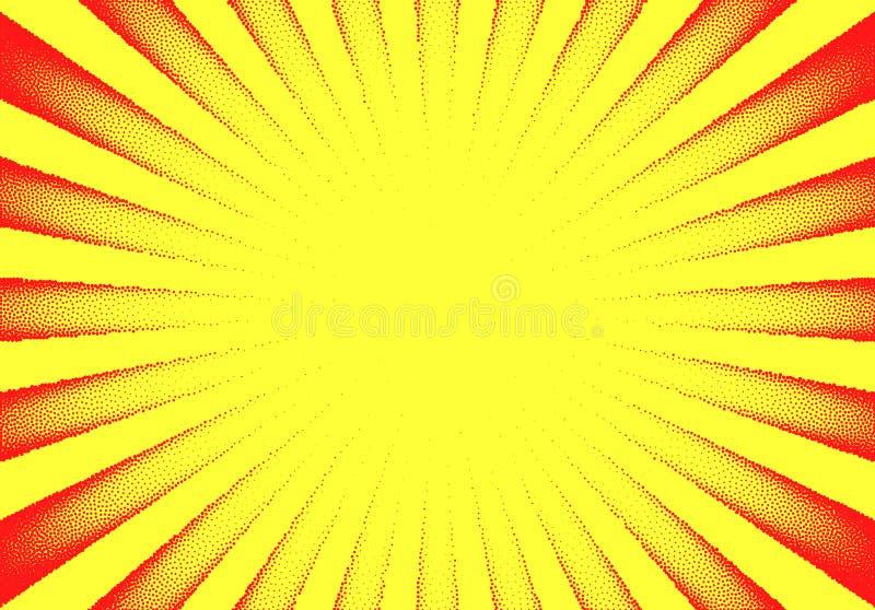 Dotwork-Sonnen-Strahlnkarte mit punktierten Punkten in der Weinlese oder im grungy T?towierungsretrostil vektor abbildung