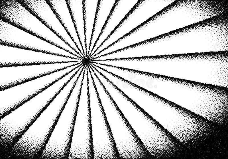 Dotwork-Sonnen-Strahlnkarte mit punktierten Punkten in der Weinlese oder im grungy T?towierungsretrostil lizenzfreie abbildung