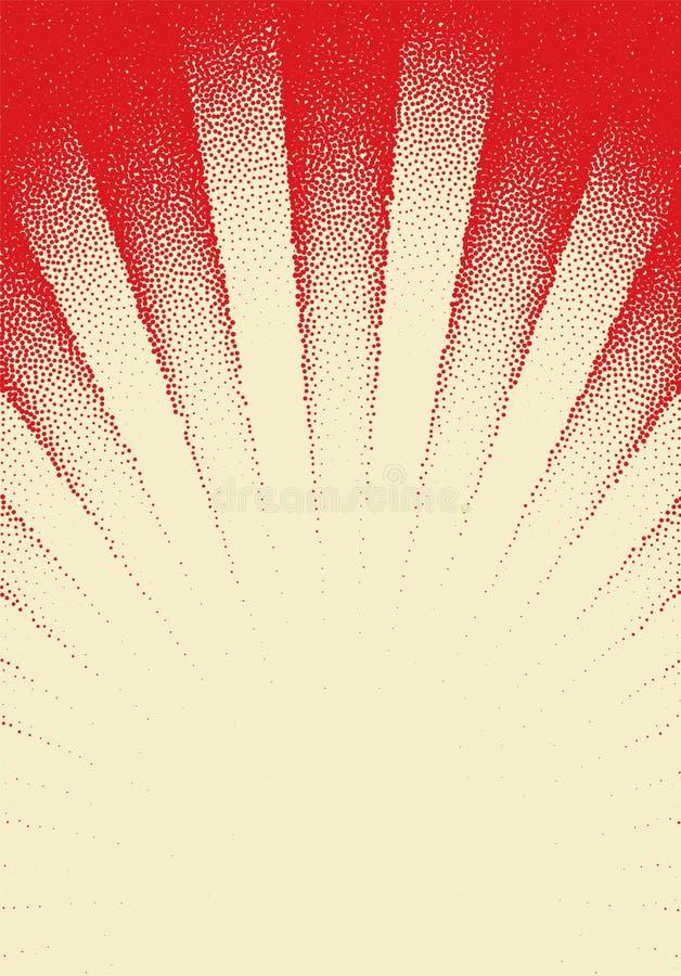 Dotwork-Sonnen-Strahlnkarte mit punktierten Punkten in der Weinlese oder im grungy T?towierungsretrostil stock abbildung