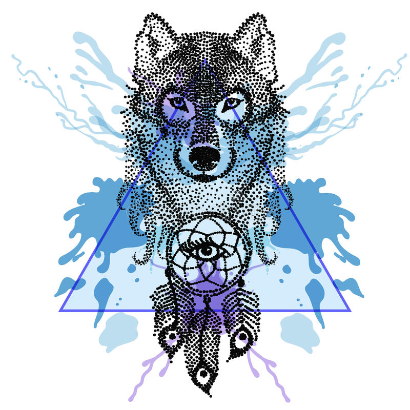 Dotwork-tatoo stilisierte Wolfgesicht mit dreamcatcher im Dreieck lizenzfreie abbildung