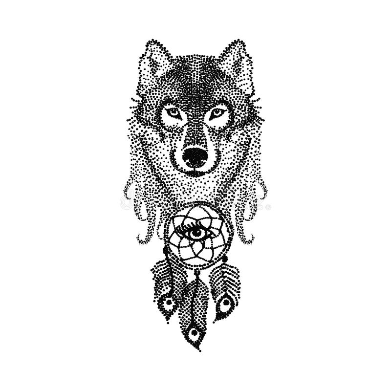 Dotwork tattoo design stylized Wolf face with dream catcher. Han royalty free illustration