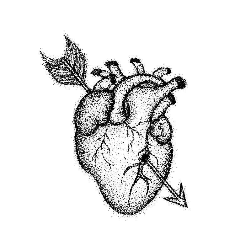 Dotworkhart met Pijl vector illustratie