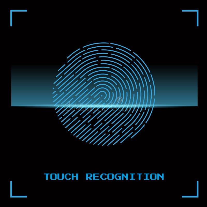 Dotyk identyfikacja fingerprint również zwrócić corel ilustracji wektora royalty ilustracja