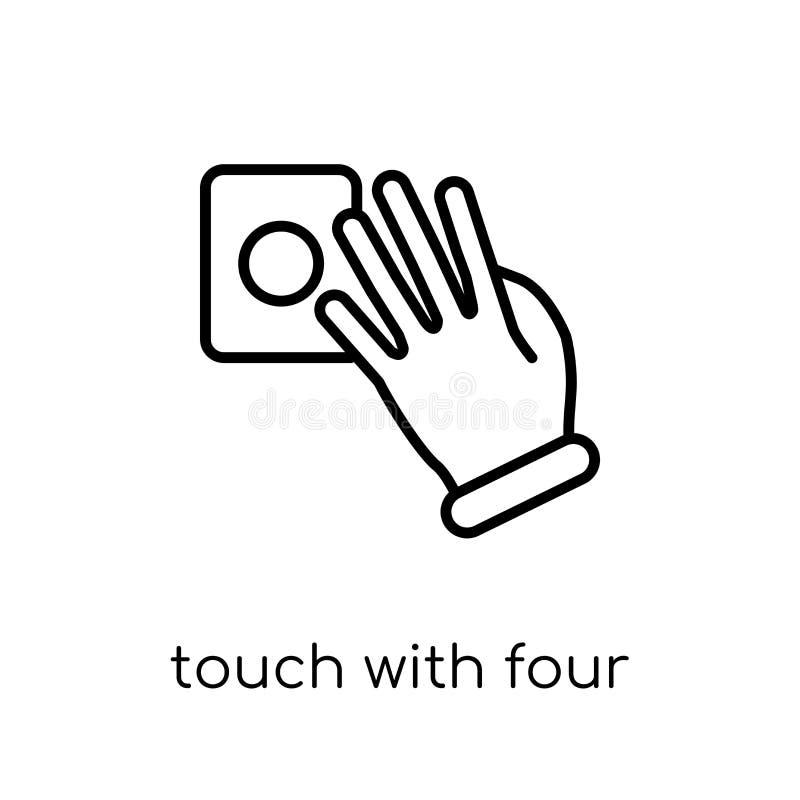 Dotyk z cztery palców ikoną Modny nowożytny płaski liniowy wektor T ilustracja wektor