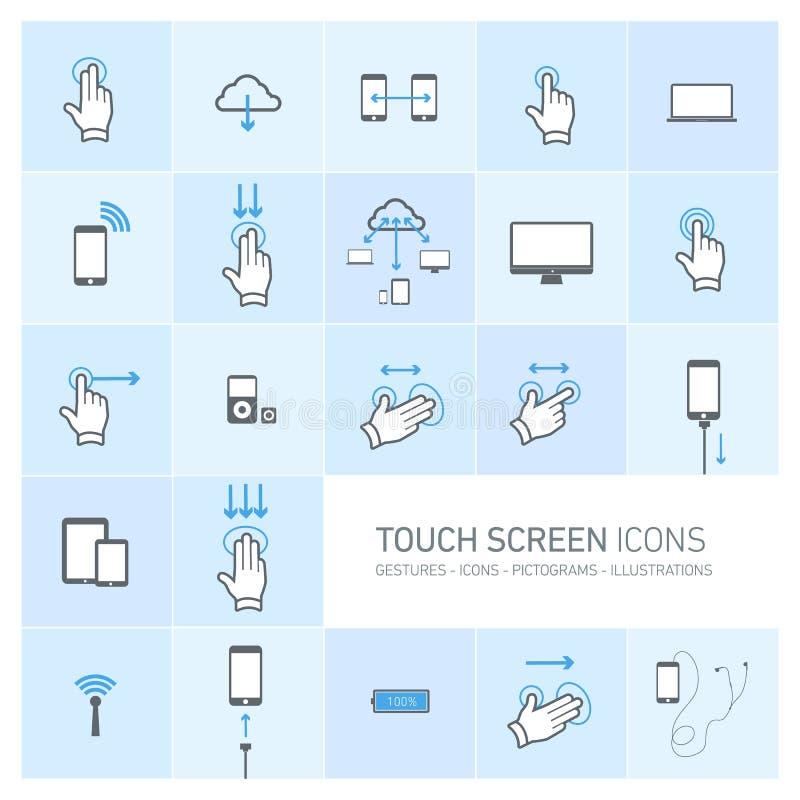 Dotyka ekranu ikony ustawiać z rękami i gestami royalty ilustracja