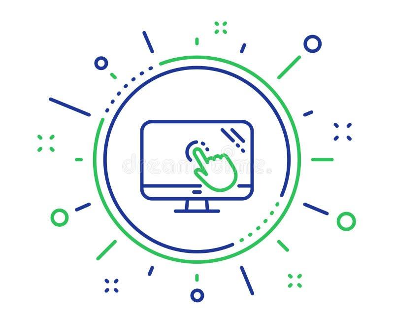 Dotyka ekranu linii ikona Online quizu testa znak wektor ilustracji