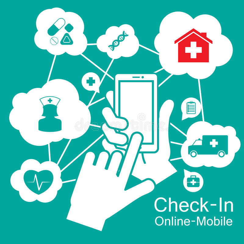 Dotyka ekranu Mądrze telefon, medyczna opieka zdrowotna ilustracji