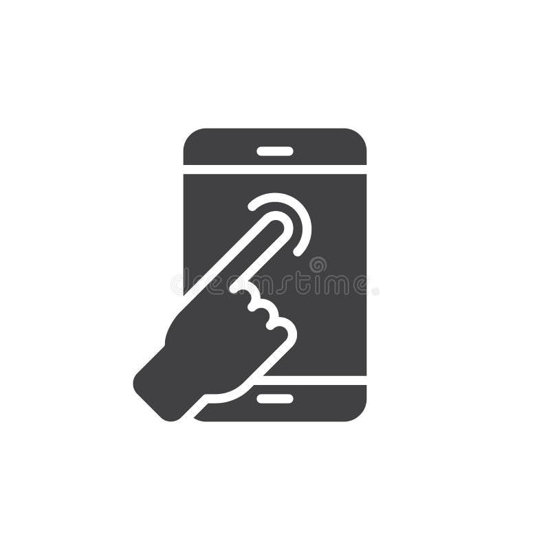 Dotyka ekranu palca klepnięcia ikony wektor, wypełniający mieszkanie znak, stały piktogram odizolowywający na bielu royalty ilustracja