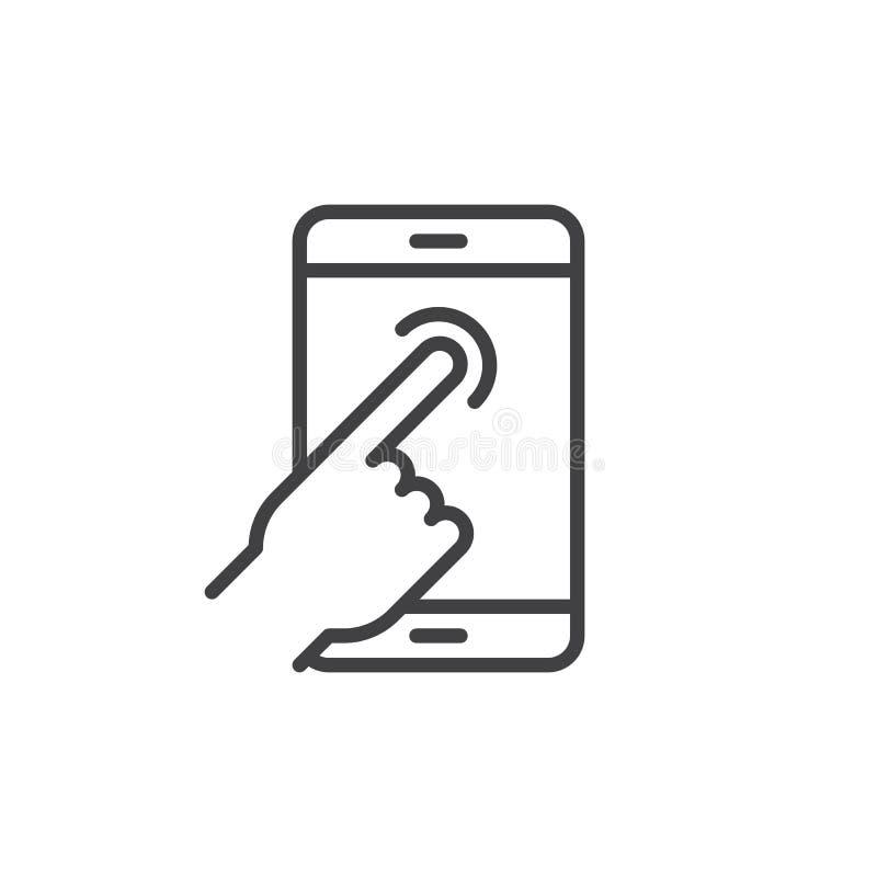Dotyka ekranu palca klepnięcia linii ikona, konturu wektoru znak, liniowy stylowy piktogram odizolowywający na bielu ilustracja wektor