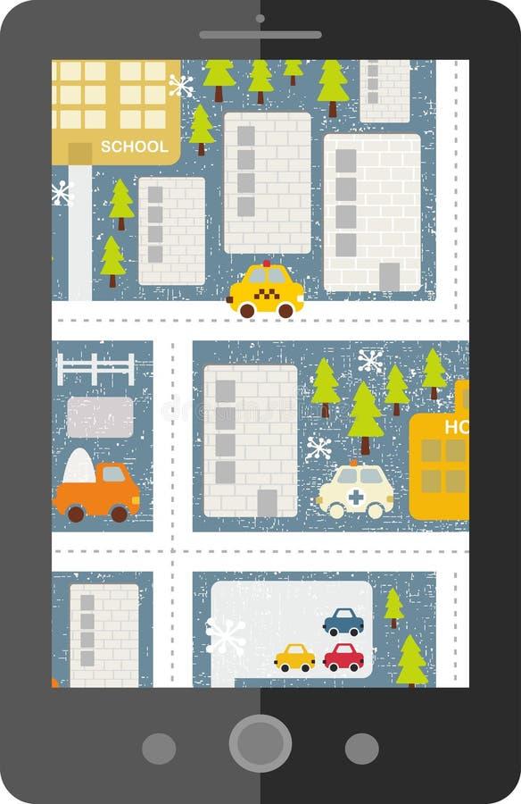Download Dotyka Ekranu Pastylki Gps Z Kreskówki Mapą Ilustracji - Ilustracja złożonej z ekran, cara: 53782162
