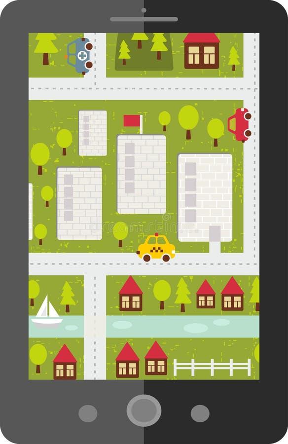 Download Dotyka Ekranu Pastylki Gps Z Kreskówki Mapą Ilustracji - Ilustracja złożonej z monitor, mapa: 53782419