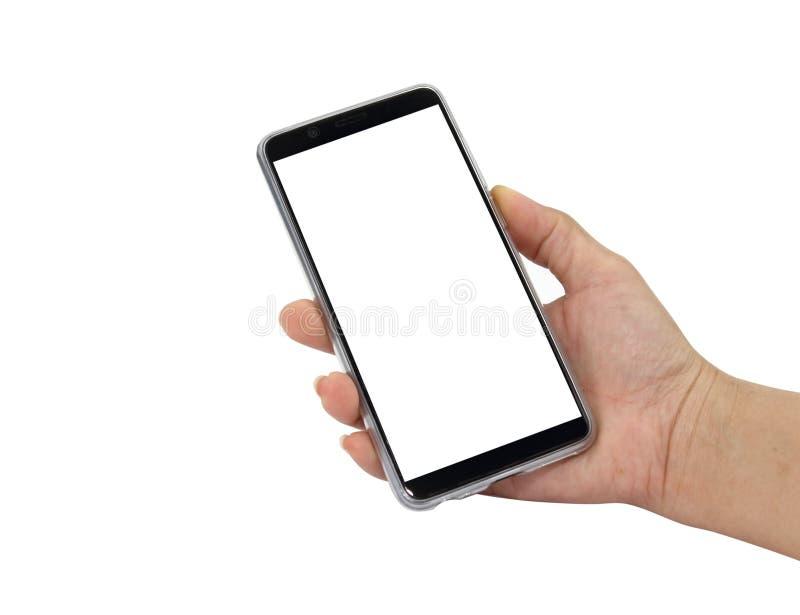 Dotyka ekranu telefon komórkowy w kobiety ręce zdjęcia stock