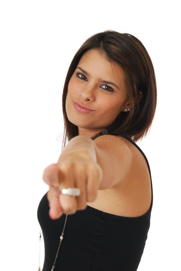 dotyka jej target1199_0_ kobiety obraz stock