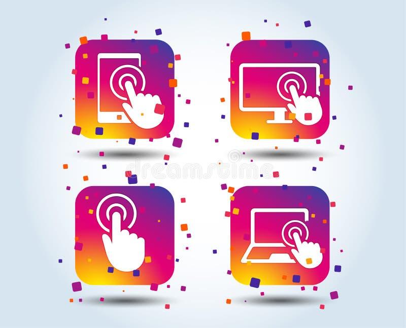 Dotyka parawanowego smartphone Ręka pointeru symbole ilustracja wektor