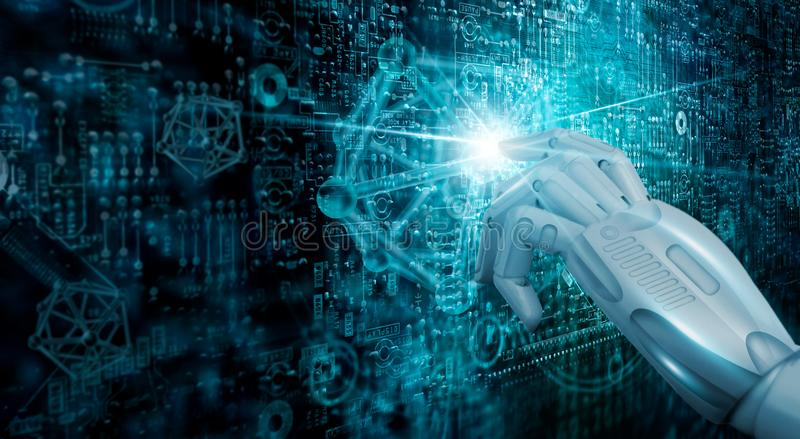 Dotyka przyszłościową, Nowożytną interfejs technologię cyfrową, Maszynowy uczenie ai Networking i łączyć świat zdjęcie stock