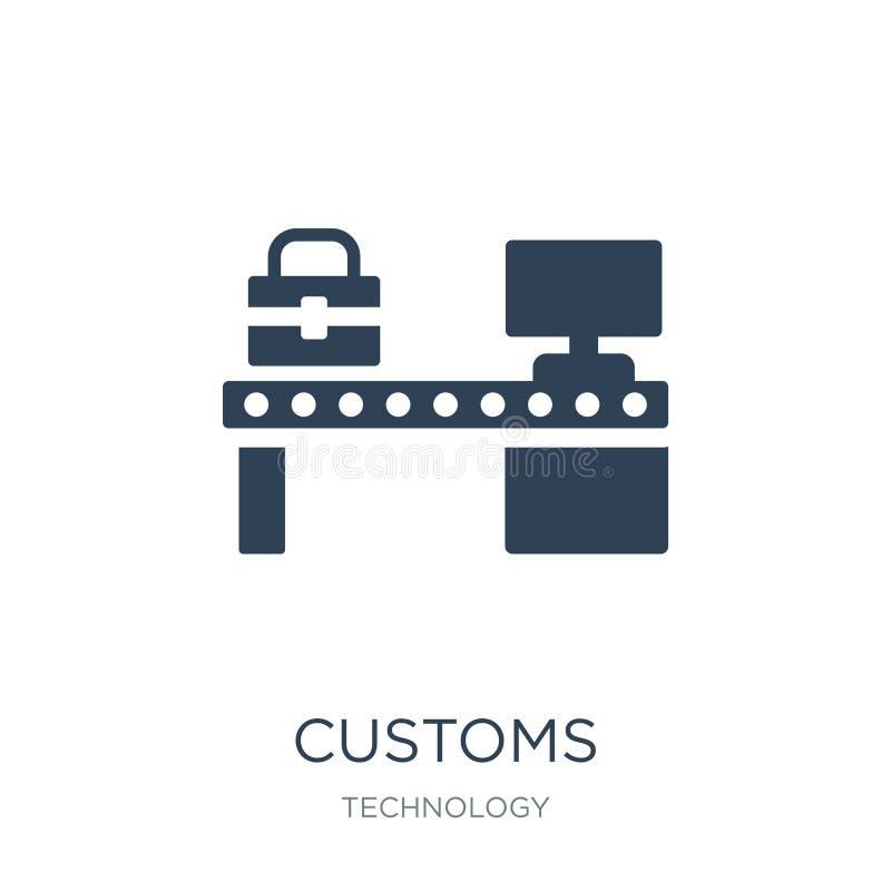 douanepictogram in in ontwerpstijl douanepictogram op witte achtergrond wordt geïsoleerd die eenvoudige en moderne vlakke symbool royalty-vrije illustratie