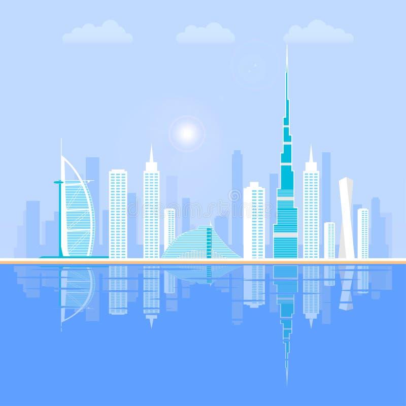 Doubai - de grootste stad in de Verenigde Arabische Emiraten, het administratieve centrum van Doubai stock illustratie