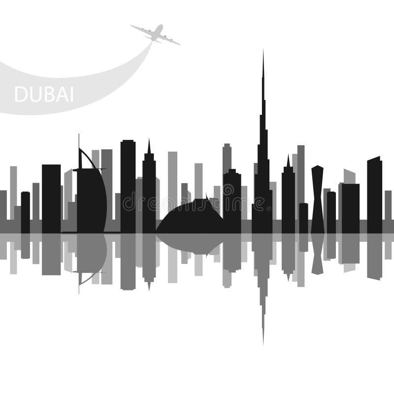 Doubai - de grootste stad in de Verenigde Arabische Emiraten, het administratieve centrum van Doubai royalty-vrije illustratie