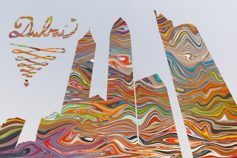 Doubai - de Illustratie en pohtomontering van wolkenkrabbers op de kleuren volledige achtergrond stock illustratie