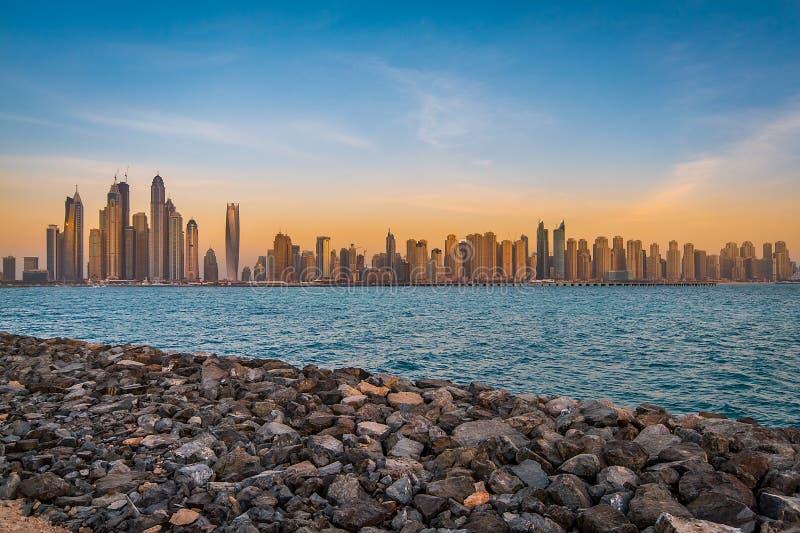Doubai Marina Skyline royalty-vrije stock foto's