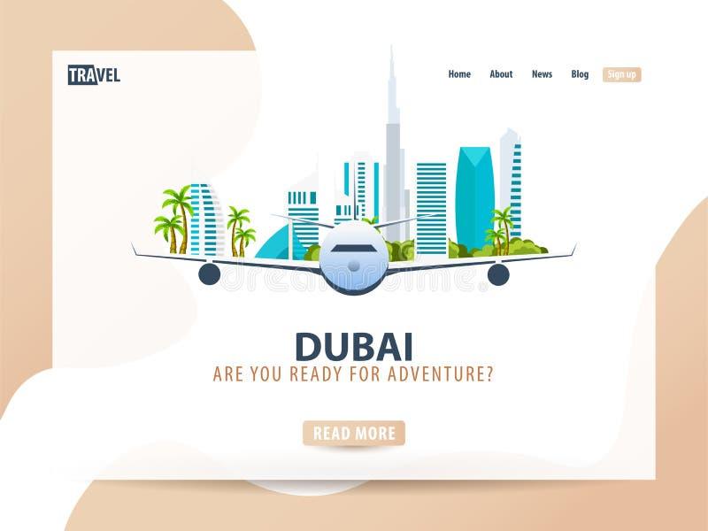 doubai Reisbanner of Webmalplaatje voor website of landende pagina Tijd te reizen Vectorui-illustratie stock illustratie