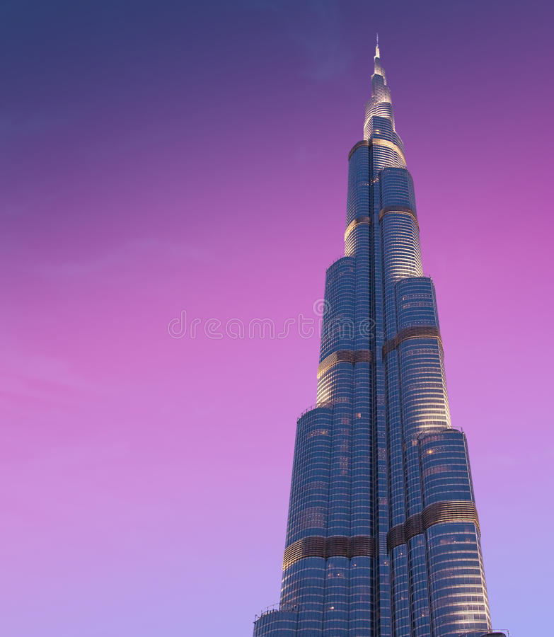 DOUBAI, 1 V.A.E-JUNI: Burj Khalifa het hoogste gebouw stock fotografie