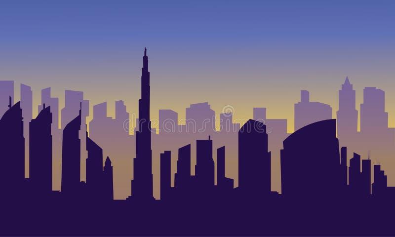 Doubai van silhouet stock illustratie