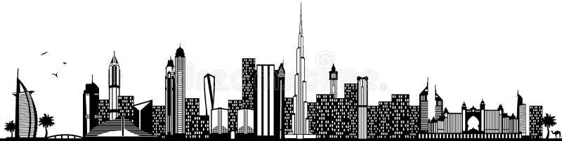 Doubai Verenigde Arabische de horizonzwarte geïsoleerde vector van Emiraten royalty-vrije illustratie