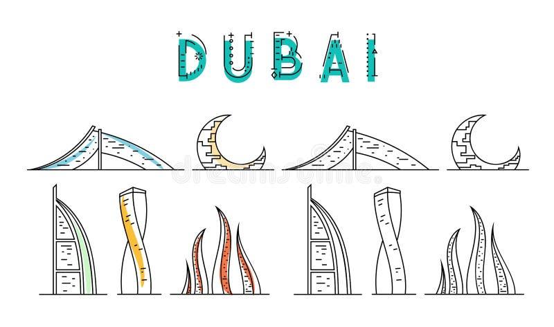 doubai Verenigde Arabische emiraten landende pagina voor de touroperator vector illustratie