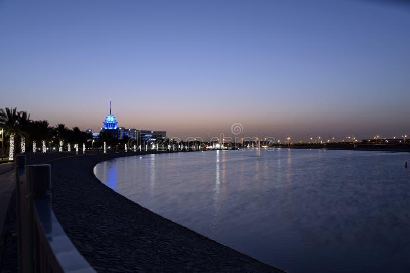 Doubai, Verenigde Arabische Emiraten - 21 Mei, 2018: Het Hoofdkwartier die van de het Siliciumoase van Doubai die met Meermening  stock fotografie