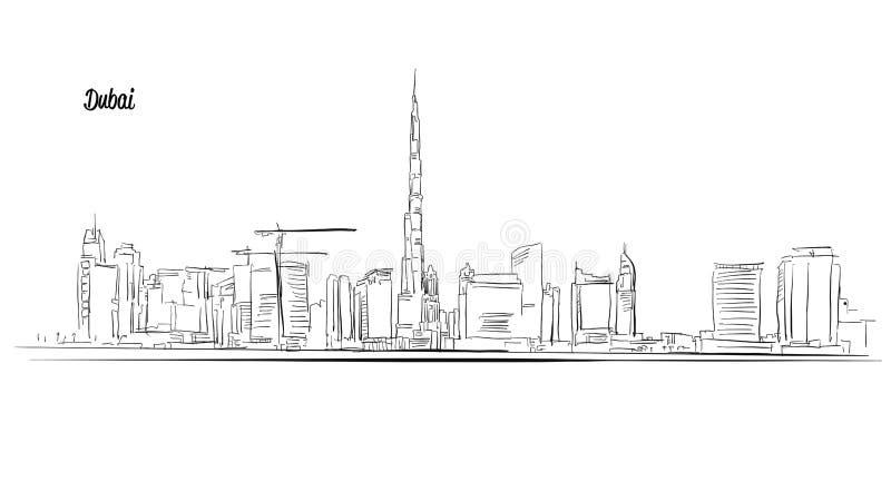 Doubai, Verenigde Arabische Emiraten Schets van het panorama de Vectoroverzicht vector illustratie