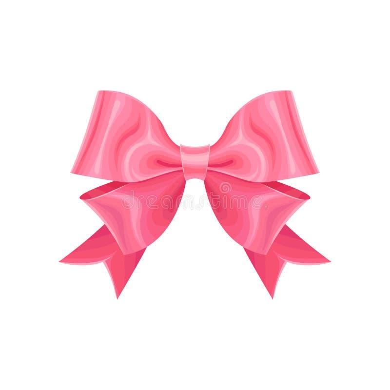 Double arc rose adorable de ruban Concevez l'élément pour la décoration de vacances, copie de carte de voeux, invitation, décor d illustration stock